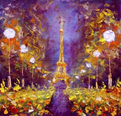Plakát Olejomalba - Eiffelova věž v noci Francii Rybakow