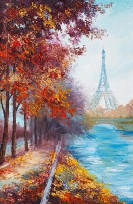 Plakát Olejomalba na Eiffelovu věž, Francie, podzimní krajina