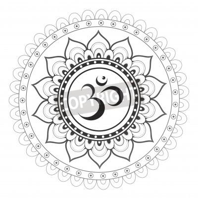 Plakát Om, Aum sanskrit symbol s mandala ornamentem