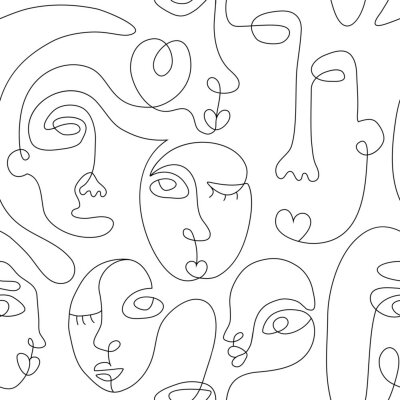 Plakát One line drawing abstract face seamless pattern. Modern minimalism art, aesthetic contour. Continuous line background with woman and man faces. Vector group of people