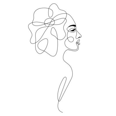 Plakát One line drawing abstract woman face with flower in her hair. Continuous line art female portrait. Modern minimalism, aesthetic contour. Vector beauty illustration