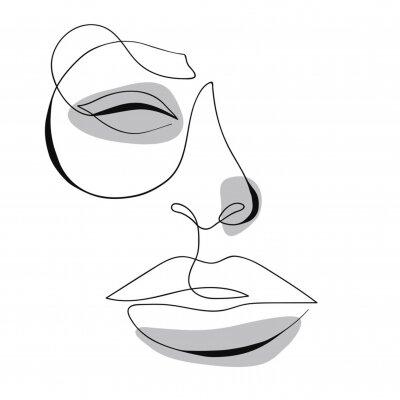 Plakát One line drawing face. Modern minimalism art, aesthetic contour. Abstract woman portrait minimalist style. Single line vector illustration