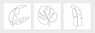 Plakát One line drawing vector monstera leaf and banana tree leaves. Modern single line art, aesthetic contour. Perfect for home decor such as posters, wall art, tote bag, t-shirt print, sticker, mobile case