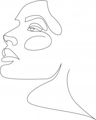 Plakát One line girl or woman portrait design. Hairstyle, fashion concept, woman beauty minimalist, vector illustration for t-shirt, slogan design print graphics style