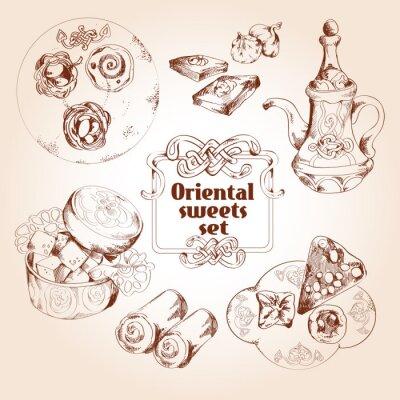 Plakát Orientální cukrovinky skica set