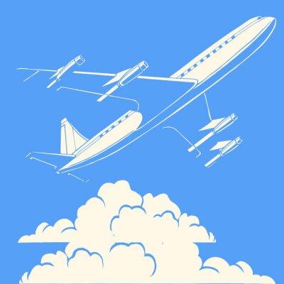 Plakát Osobní letadlo v oblacích retro pozadí