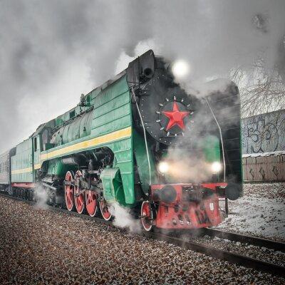 Plakát Osobní retro parní vlak jede rychle.