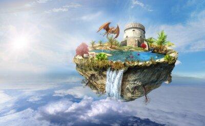 Plakát ostrov drak letí do vesmíru