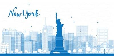 Plakát Outline New York panorama města s mrakodrapy
