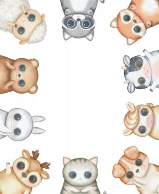 Plakát Oval frame composition with kawaii cartoon cute cat, dog, bear, fox, rabbit, cow, raccoon, deer, sheep and pony isolated on white background. Watercolor hand drawn illustration