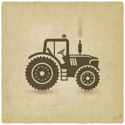 Plakát oválný štítek s krajinou. traktor v poli