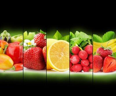 Plakát ovocné a zeleninové pruh sbírka na černém pozadí