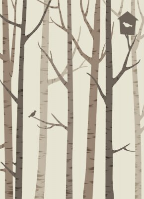 Plakát ozdobné siluety stromů s ptákem a ptačí budka