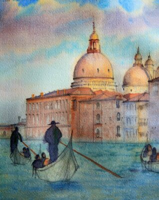 Plakát Painting of Venice Italy, painted by watercolor
