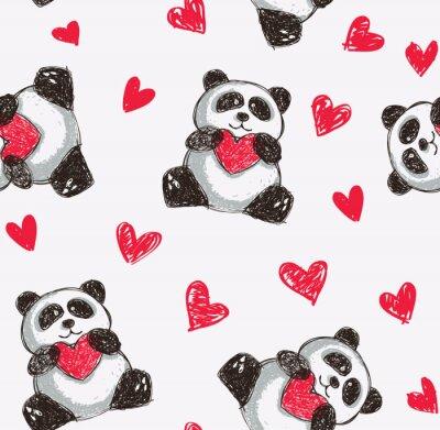Plakát panda držící srdce bezešvé pozadí