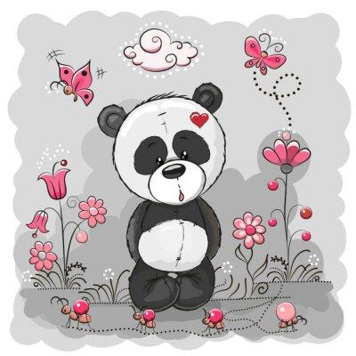 Plakát Panda with flowers