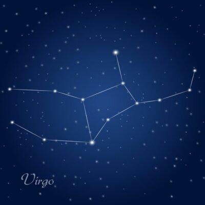 Plakát Panna souhvězdí znamení zvěrokruhu v hvězdné noční obloze