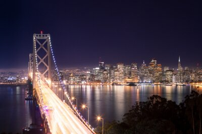 Plakát Panorama di San Francisco Bay Bridge e di notte