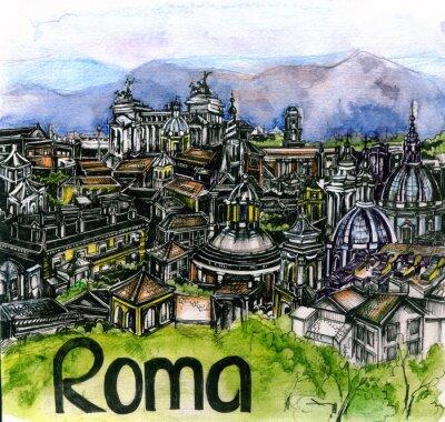 Plakát panoramatický pohled na romskou akvarel Evropské unie