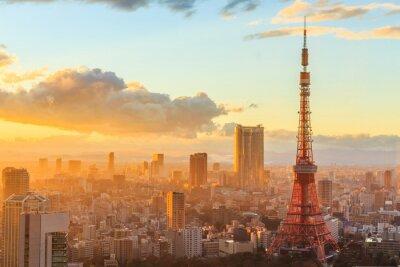 Plakát panoramatický výhled na Osaka z horního patra nejvyšší budovy
