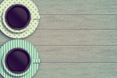 Plakát Pár hrnečky na dřevěném stole