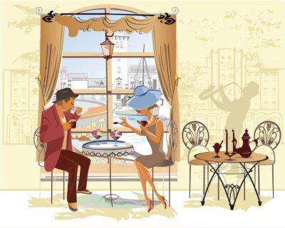 Plakát Pár, muž a žena v kavárně.
