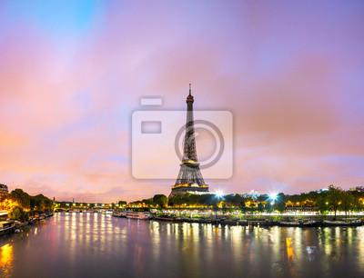 Plakát Paříž panoráma města s Eiffelovou věží