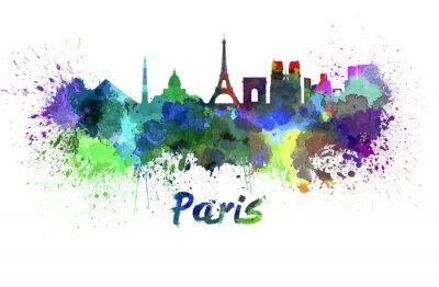 Plakát Paříž panorama v akvarelu