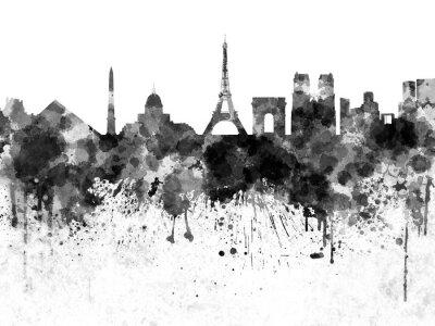 Plakát Paříž panorama v černé akvarel