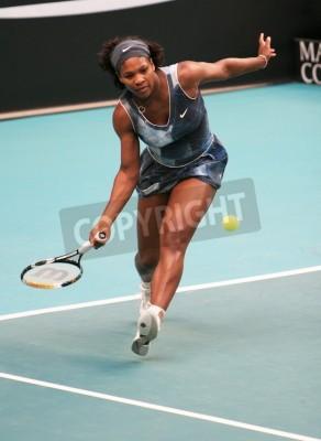 Plakát PAŘÍŽ - únor 11: US Serena Williamsová se vrací míč na open GDF SUEZ WTA turnaje, Pierre de Coubertin stadionu 11. února 2009 v Paříži, Francie.