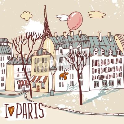 Plakát Paříž Urban Sketch