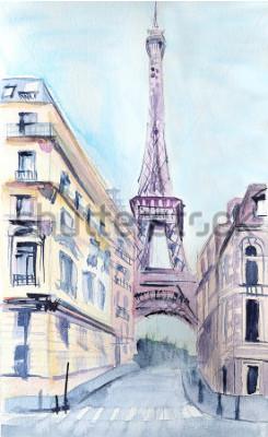 Plakát Pařížská architektura. Eiffelova věž