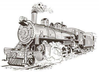 Plakát parní lokomotiva ilustrace ve stylu vintage