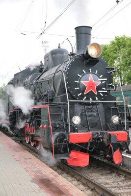 Plakát Parní lokomotiva, pohled zpředu