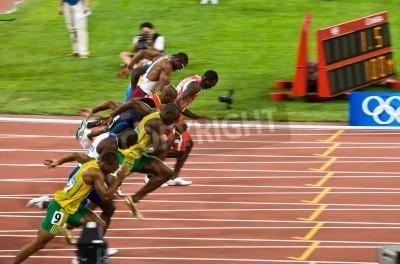Plakát Peking, Čína - 16.srpna 2008 :, olympijské hry, Usain Bolt vytrhne v 100m závod pro muže