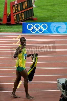Plakát Peking, Čína - 16.srpna: Sprinter Usain Bolt nastavuje nový 100 m světový rekord pro muže