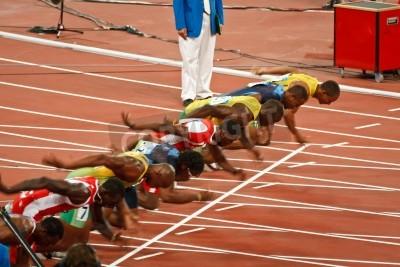 Plakát Peking, Čína, olympijské hry - 18 srpna 2008: 100 meter Sprint startovní čáry, Začátek mužů