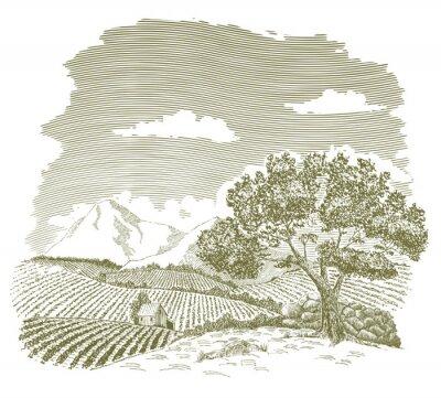 Plakát Perokresba z oblasti hospodářství s horami v pozadí.