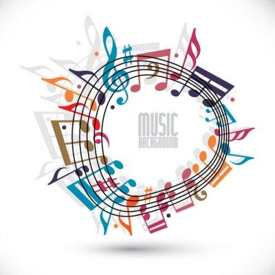 Plakát Pestrý hudební pozadí s klíči a poznámky, noty v ro