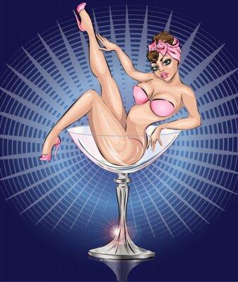 Plakát Pin up sexy dívka, která nosí růžové Bikiny v martini skla