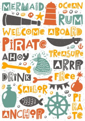 Plakát Pirate party hand written lettering poster. Colorful grunge banner with ink drops and stylized phrases. Decoration print.