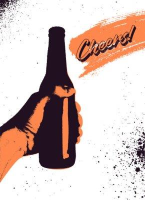Plakát Pivo typografické vintage styl grunge návrh plakátu. Ruka drží láhev piva. Retro vektorové ilustrace.