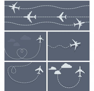 Plakát Plane flight - dotted trace of the airplane, heart-shaped and lo