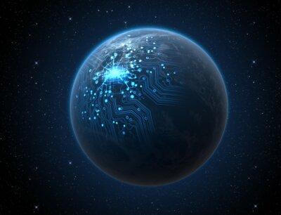 Plakát Planeta s osvětleným sítě