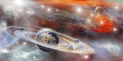 Plakát Planeta ve vesmíru s mnoha kruhovým systémem
