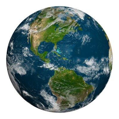 Plakát Planeta Země s mraky. Severní a Jižní Amerika.