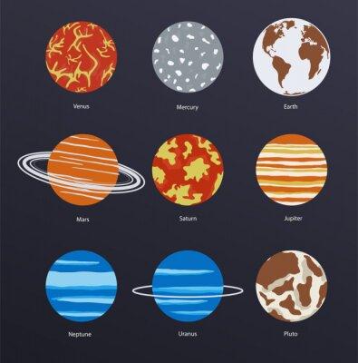 Plakát Planety ikony na tmavém pozadí