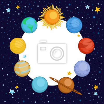 Planety Slunecni Soustavy Ve Vesmiru S Kulatym Mistem Pro Text