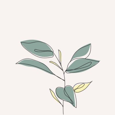 Plakát Plant leaves continuous line drawing. One line . Hand-drawn minimalist illustration, vector.
