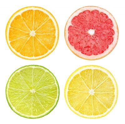 Plakát Plátky citrusových plodů izolovaných na bílém